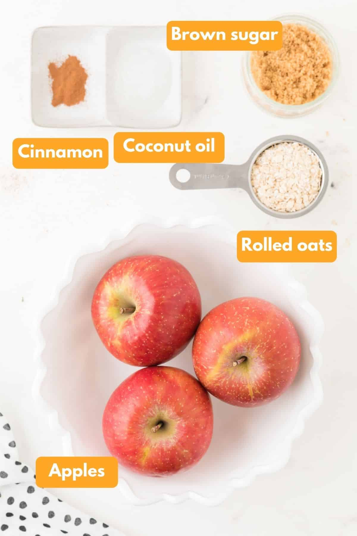 Ingredients for air fryer apples and oat filling