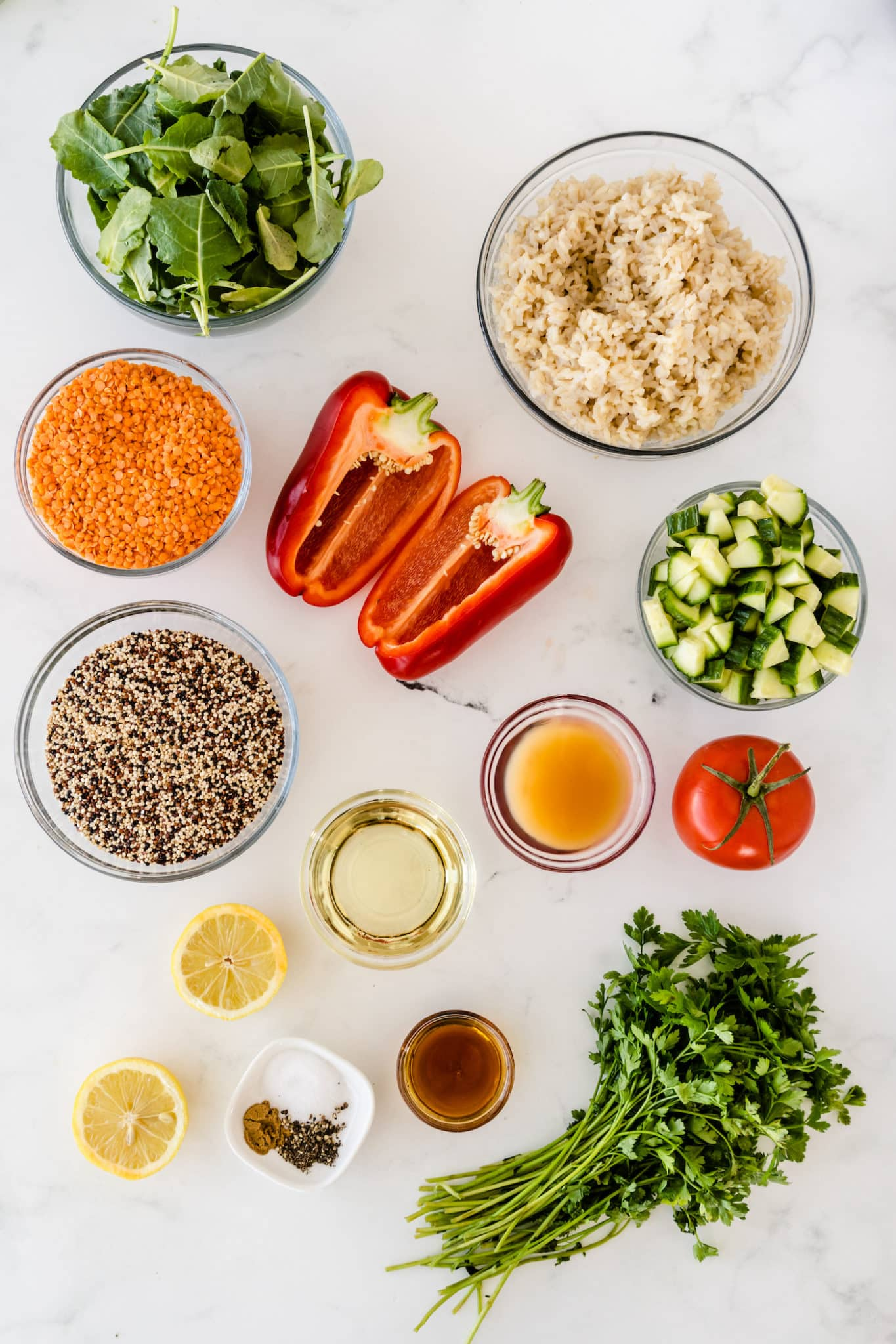 ingredients laid out on a table to make the costco quinoa salad