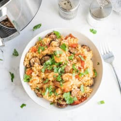 A bowl of jambalaya with shrimp