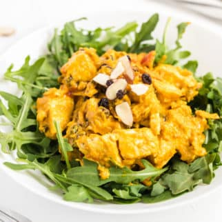 A plate of curry chicken salad