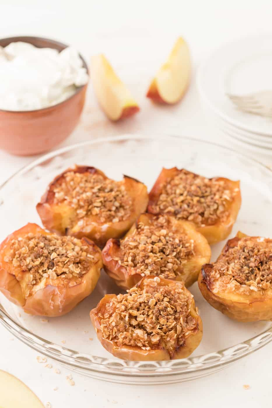 Air fryer baked apples on a plate