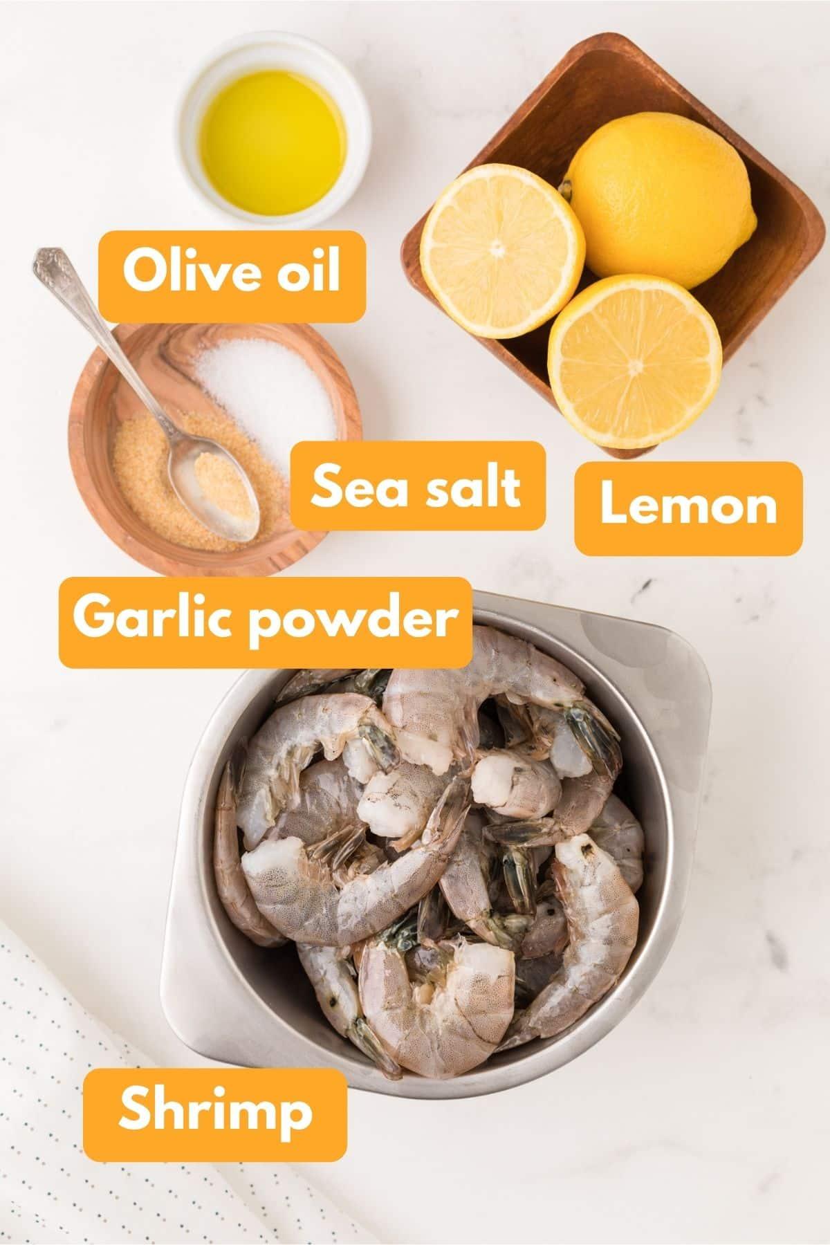 Ingredients for air fryer shrimp