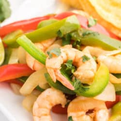 Sautéed shrimp and bell peppers