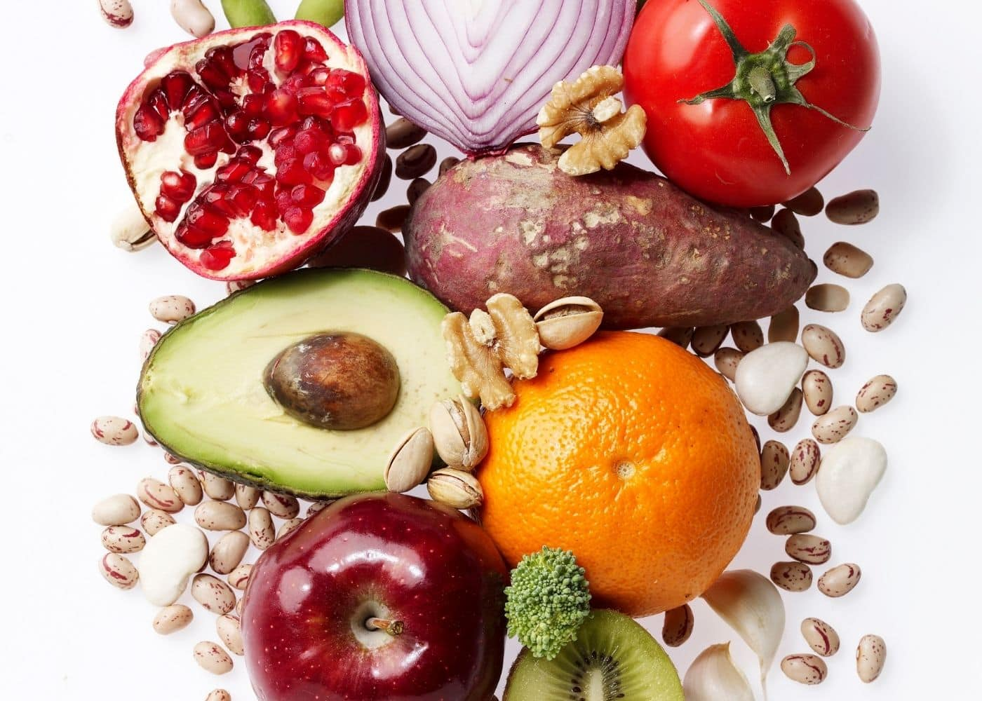 healthy foods on a white tabletop