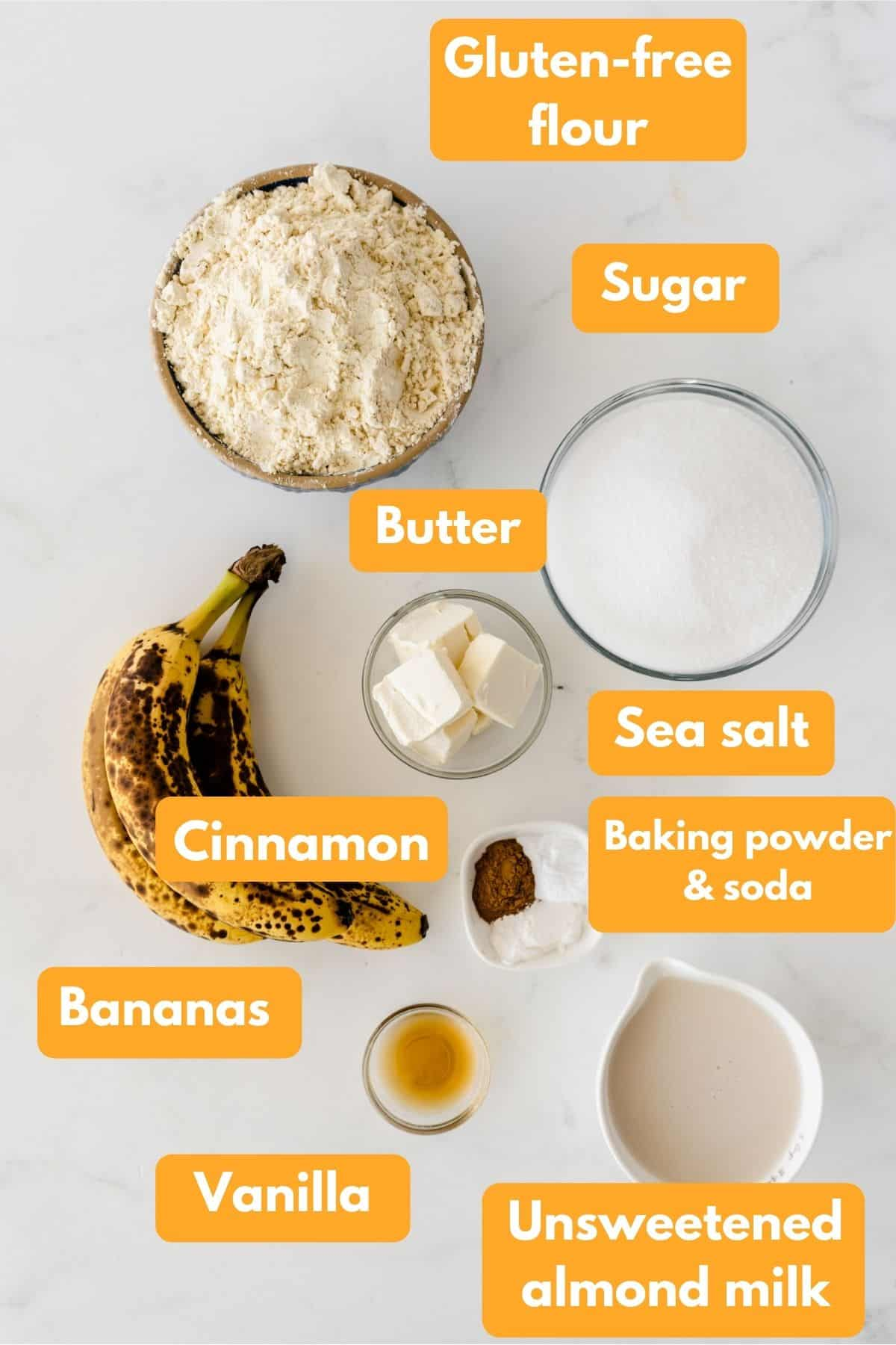 Ingredients for banana cake in bowls
