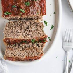 Gluten-free meatloaf slices on a platter