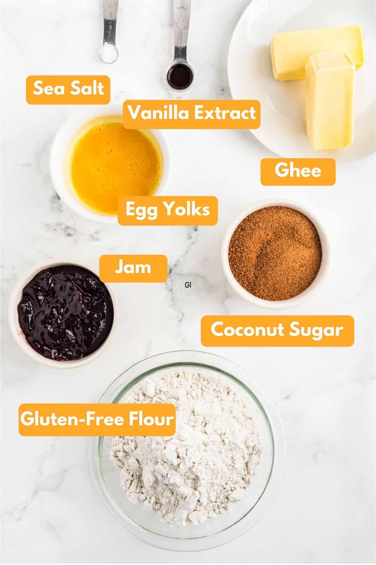 Ingredients for gluten free thumbprint cookies