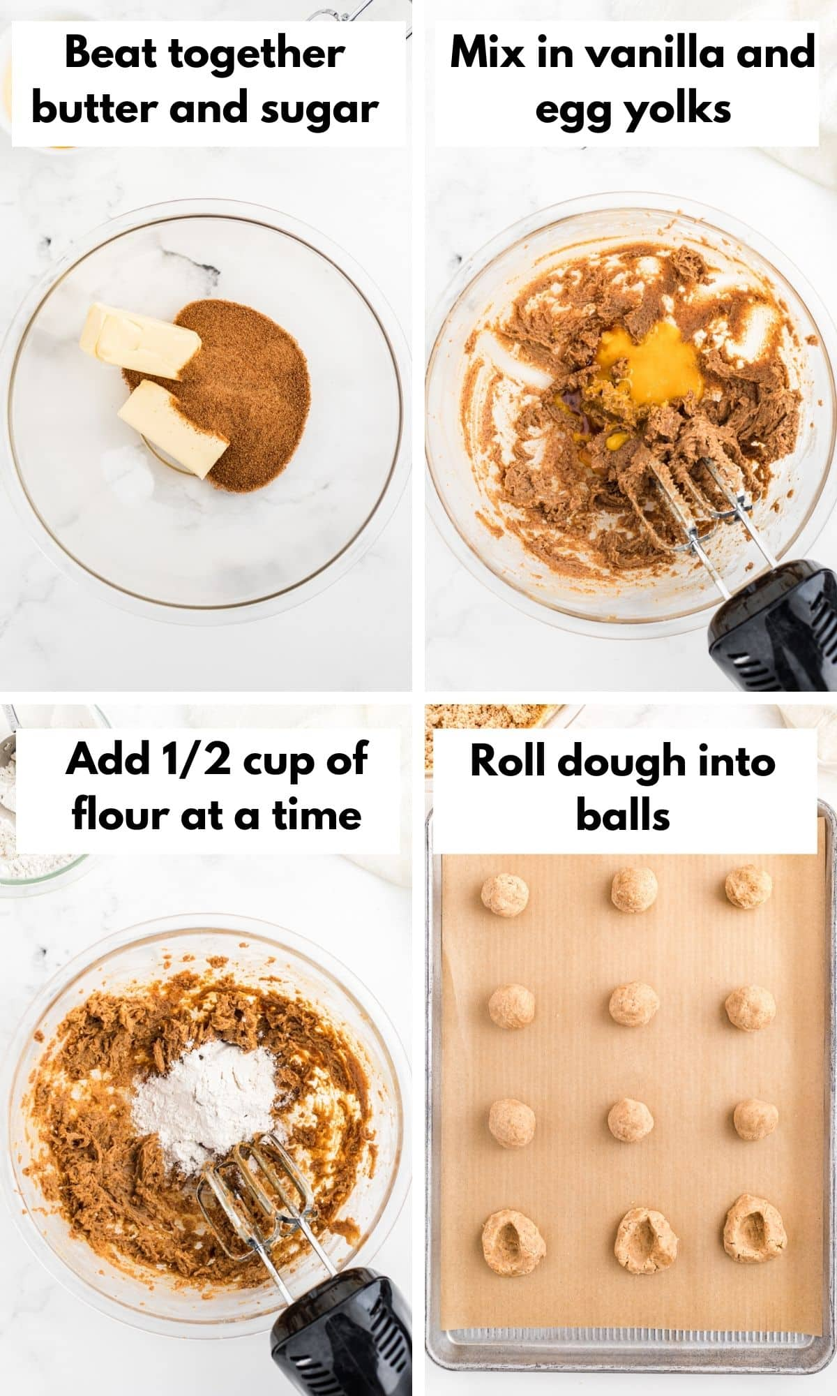 Pictures showing how to make thumbprint cookies