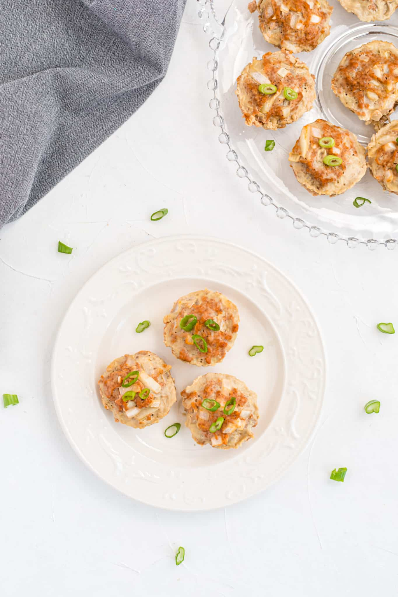 turkey meatloaf muffins on a pretty serving tray on a table