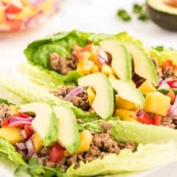 Ground turkey lettuce wraps with mango salsa
