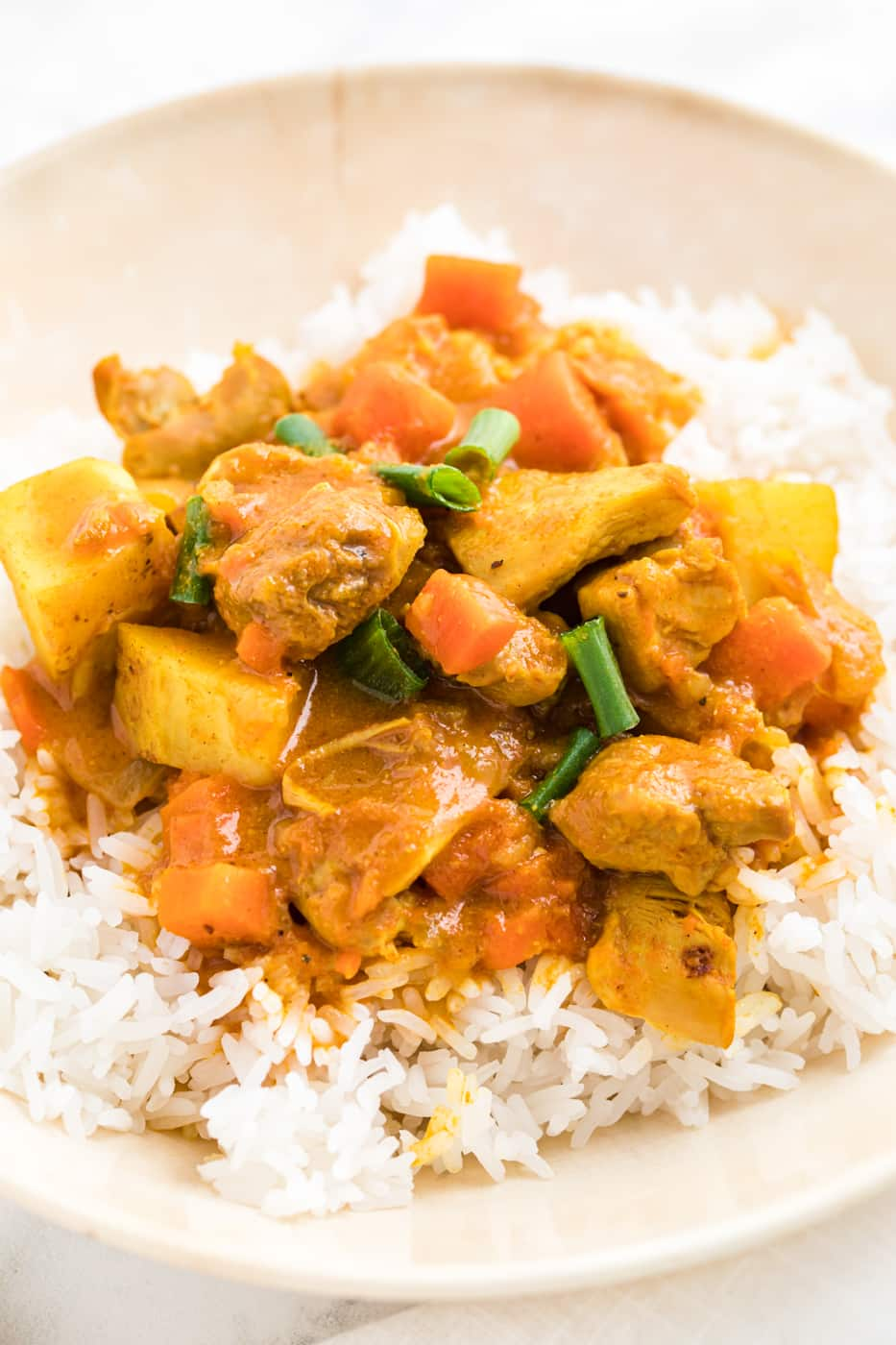 bowl of chicken curry on top of steamed rice