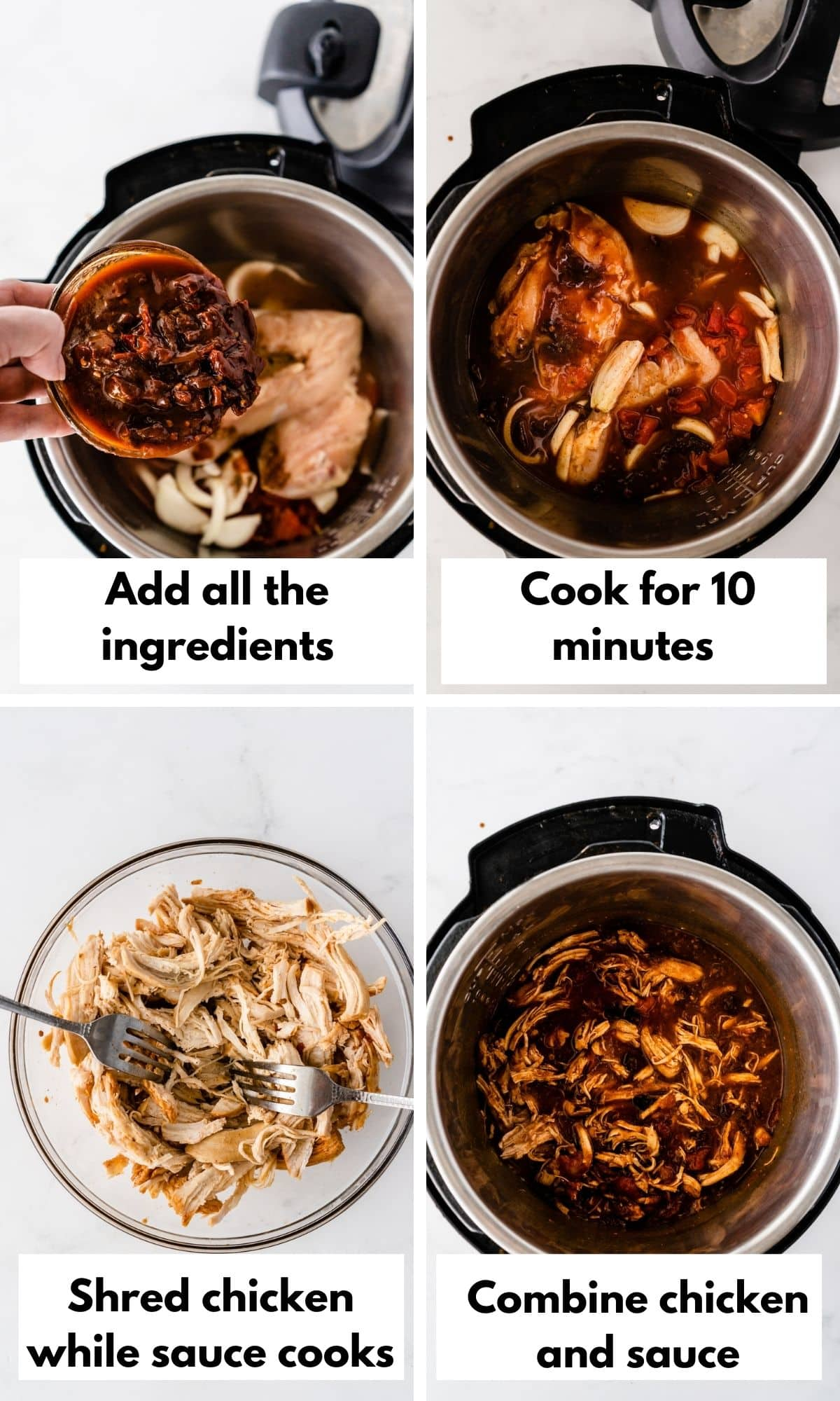 Pictures showing how to make the chicken tinga