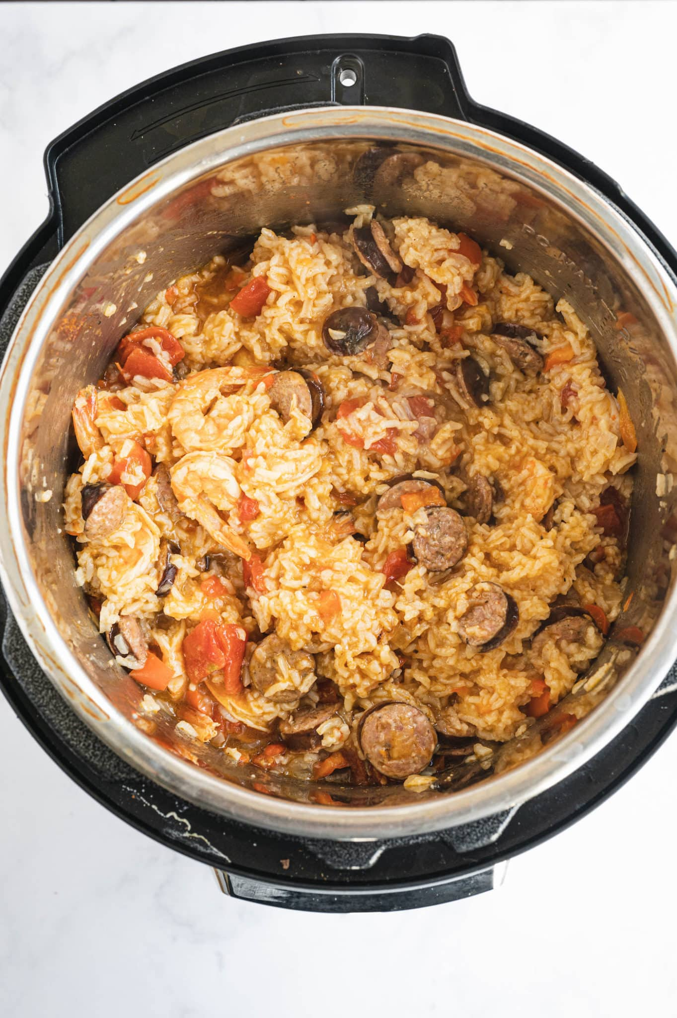 cooked instant pot jambalaya ready to be served