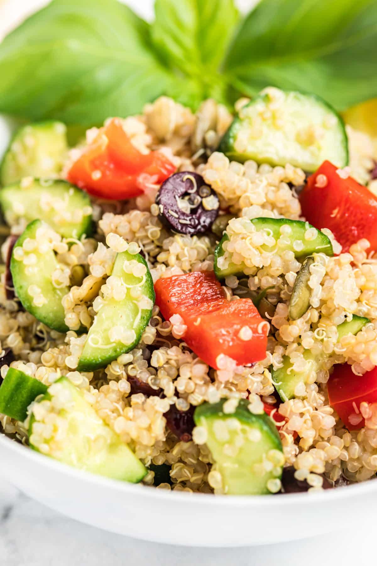 Close up of lemon vegetable quinoa salad