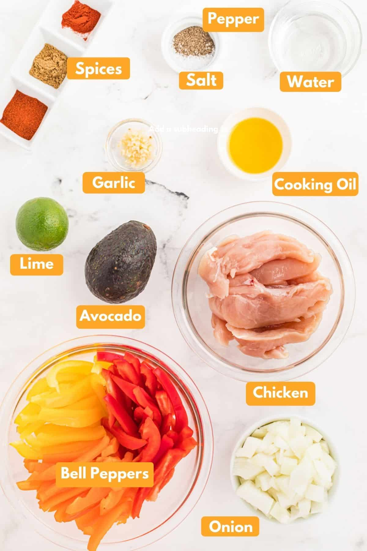 All the ingredients for fajitas laid out in bowls