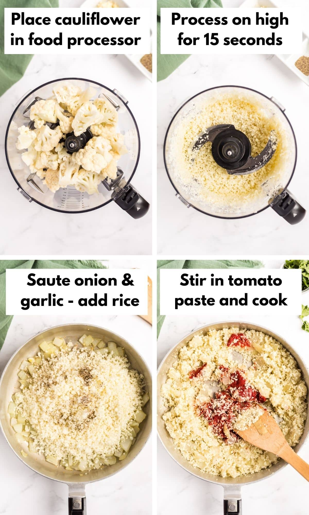 Pictures showing how to make mexican paleo rice