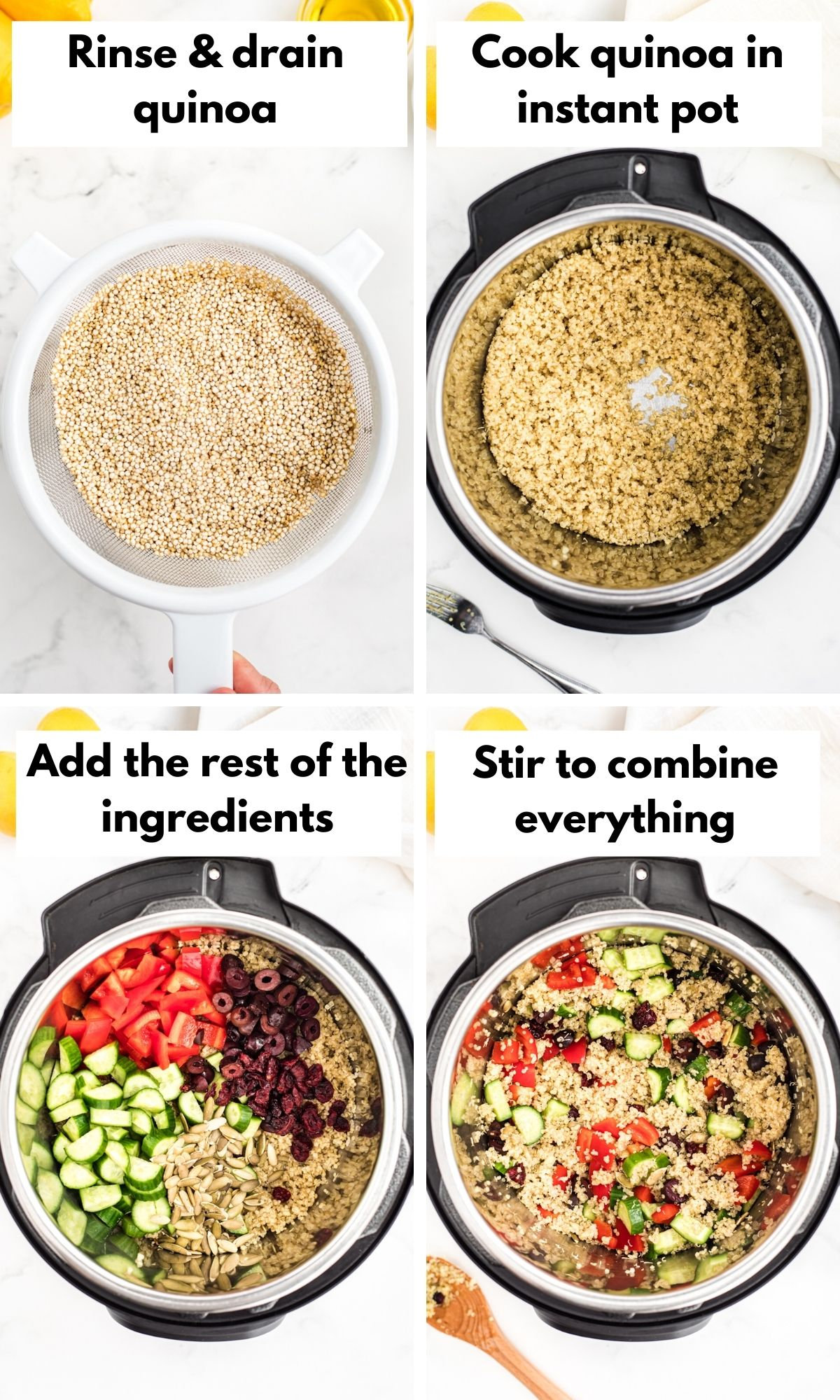 Pictures show how to make instant pot quinoa
