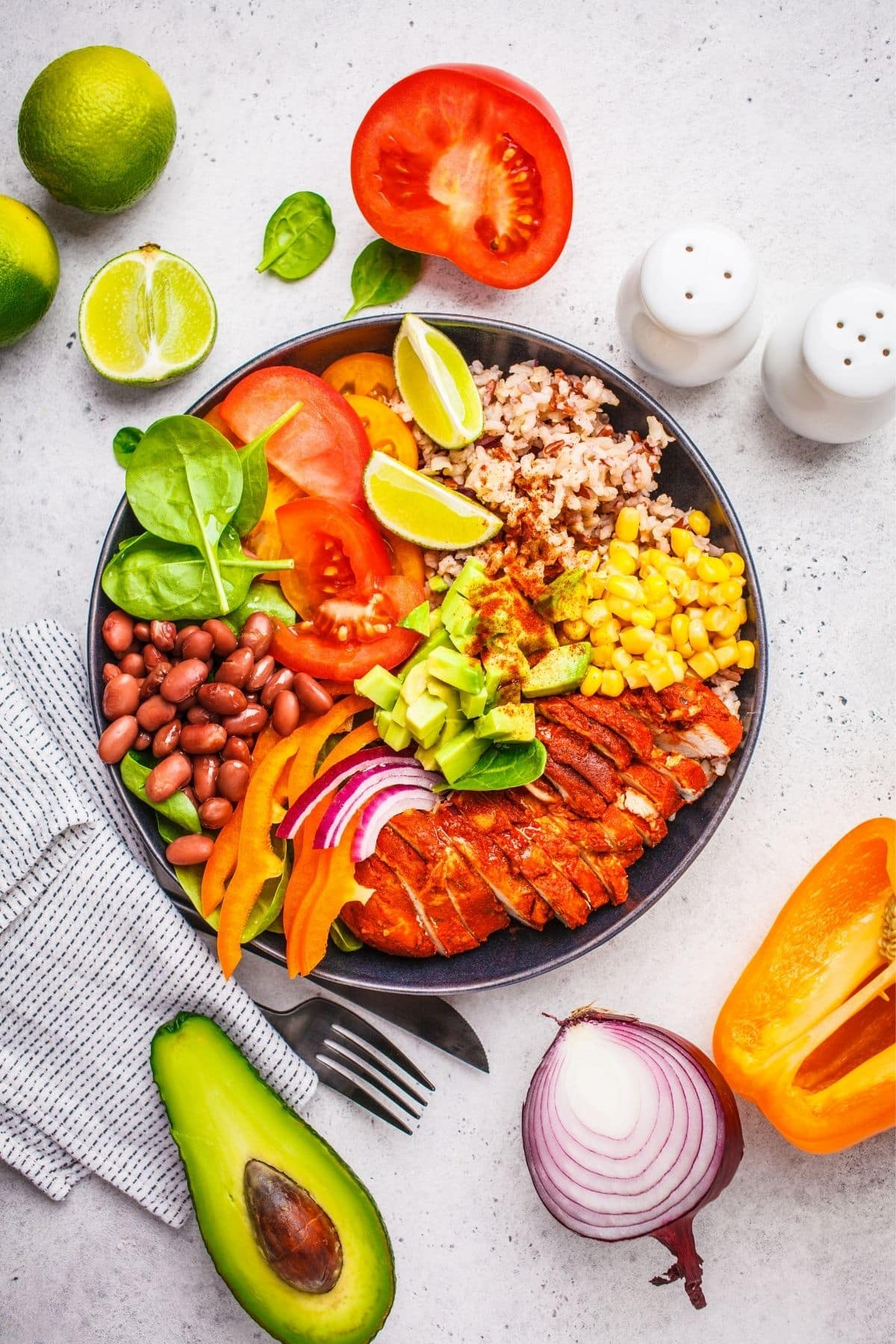 nourish bowl with vegetables and avocado