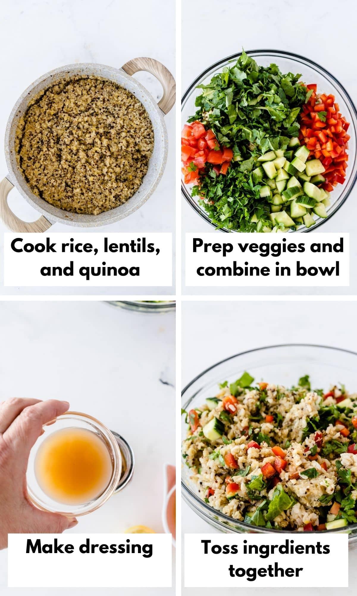 process photos in a collage for costco quinoa salad recipe