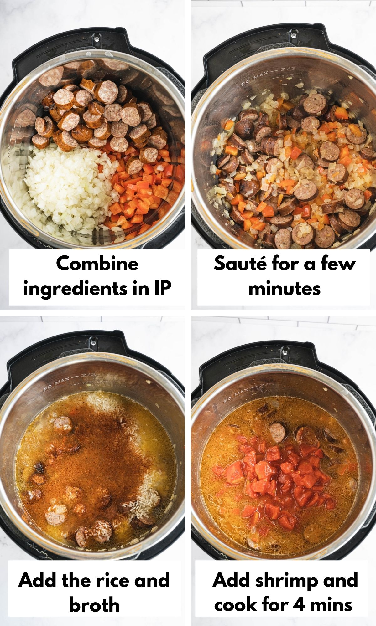 Pictures explaining how to make instant pot jambalaya