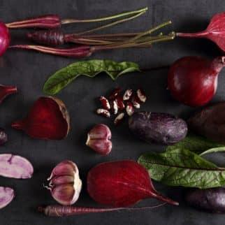 Purple vegetables on a table