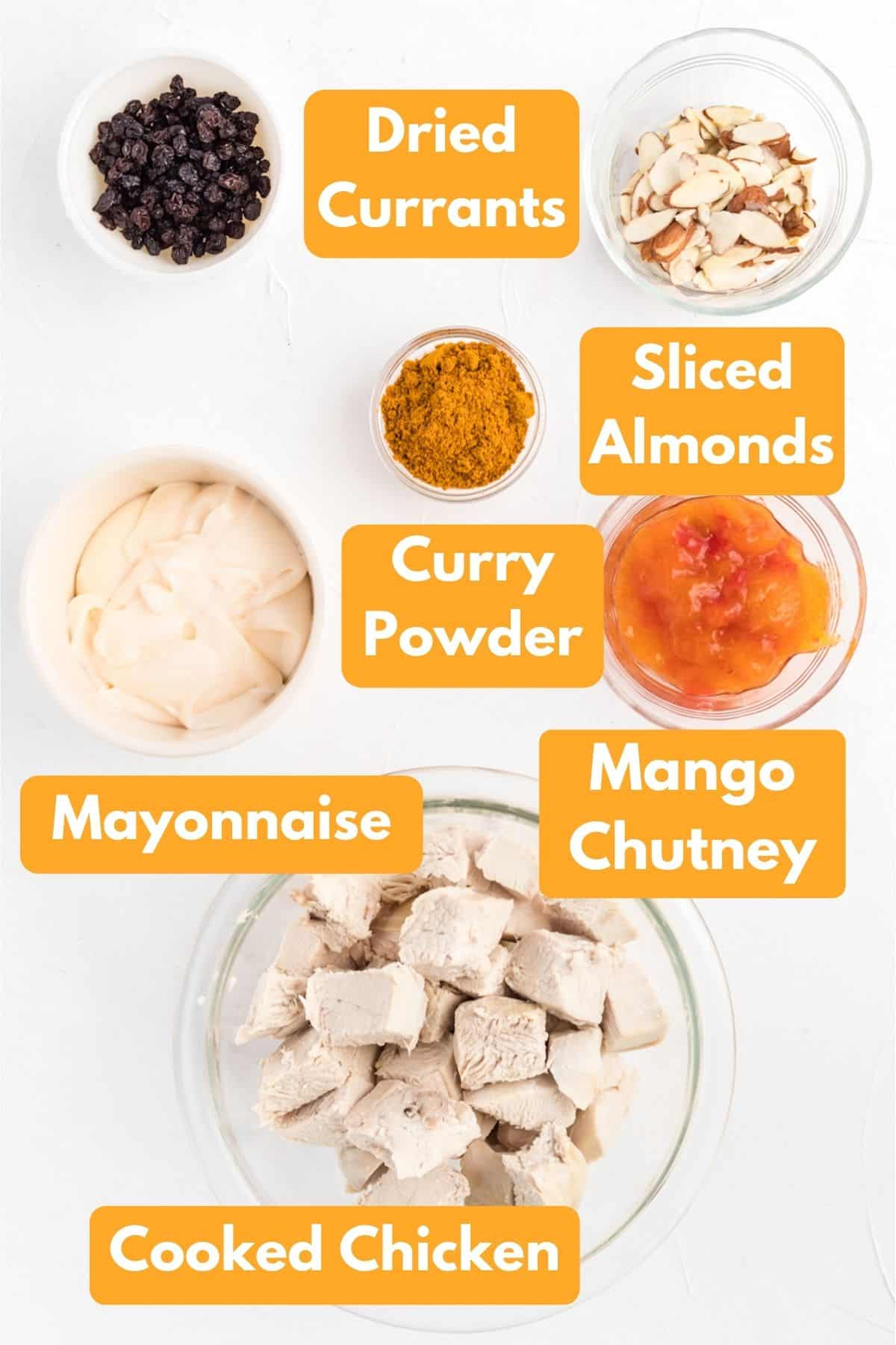 All the ingredients laid out in bowls