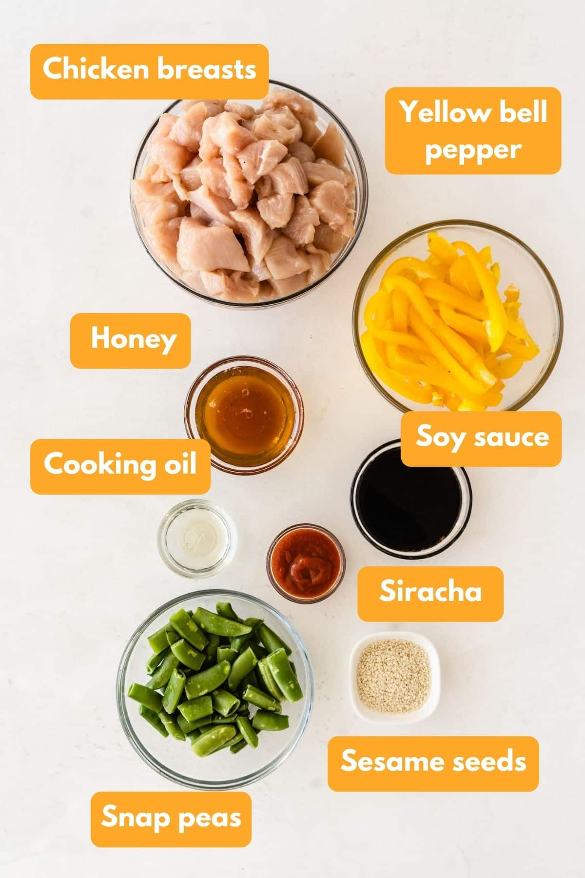 Ingredients for honey sesame chicken