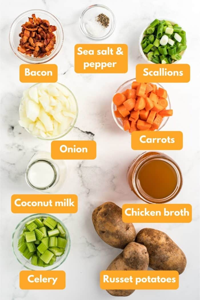 Ingredients for dairy-free potato soup