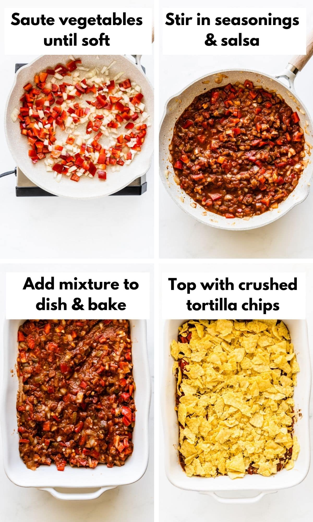 Pictures showing how to make a mexican casserole