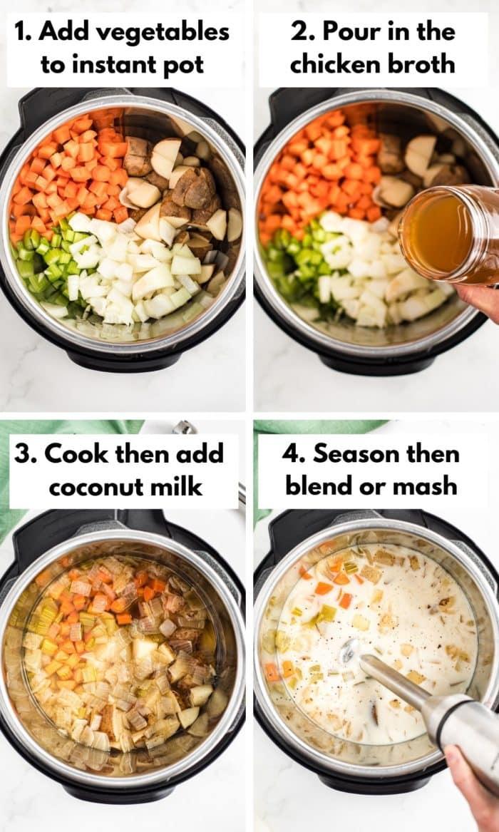 Process shots showing how to make dairy-free potato soup