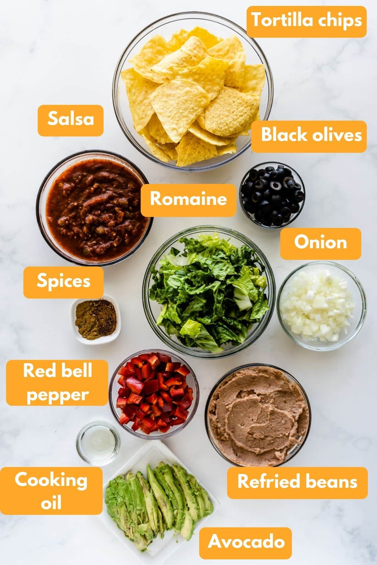 Ingredients for dairy free mexican casserole
