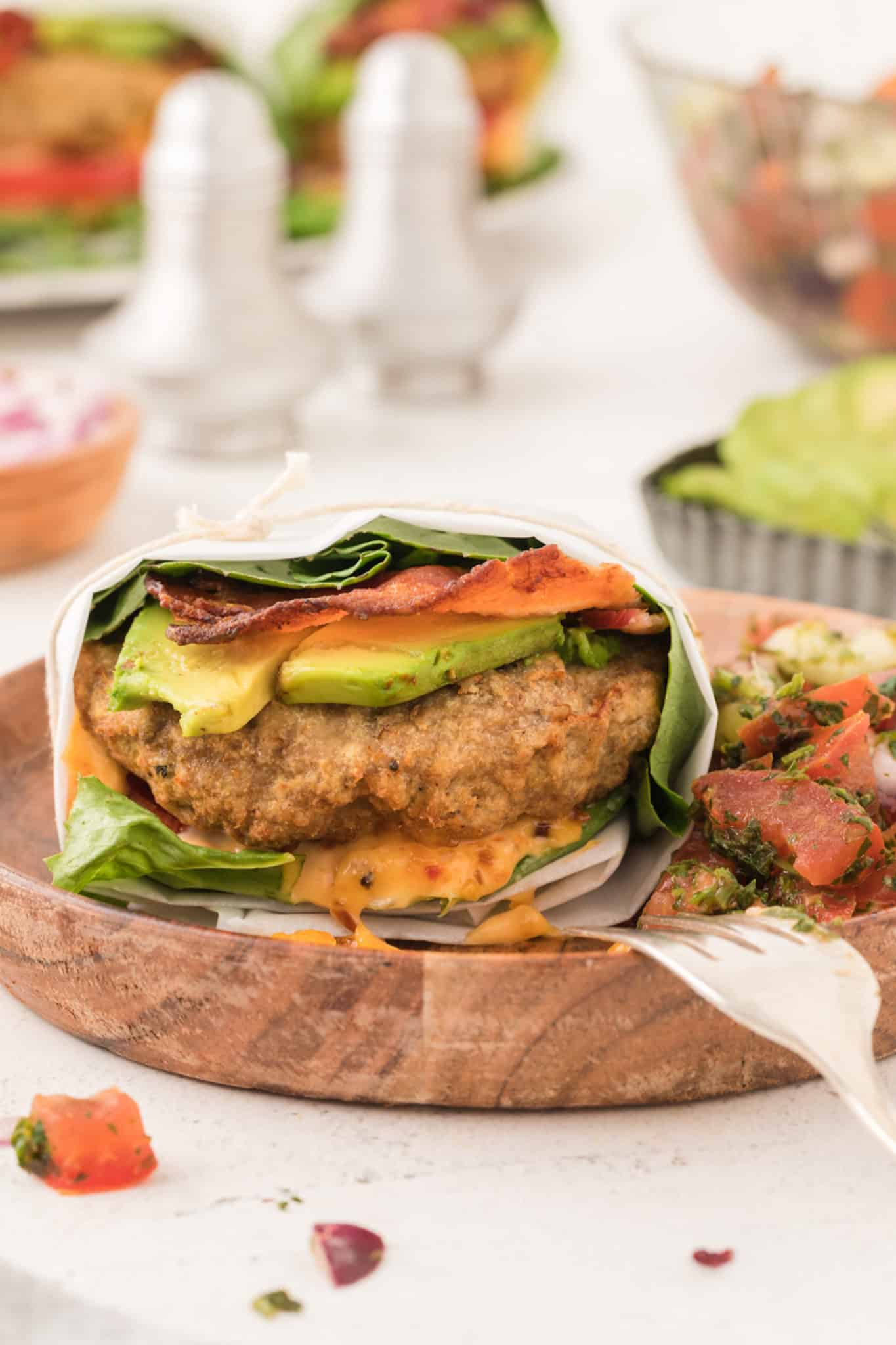A lettuce wrapped turkey burger