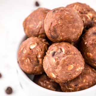 A bowl of nut butter energy balls