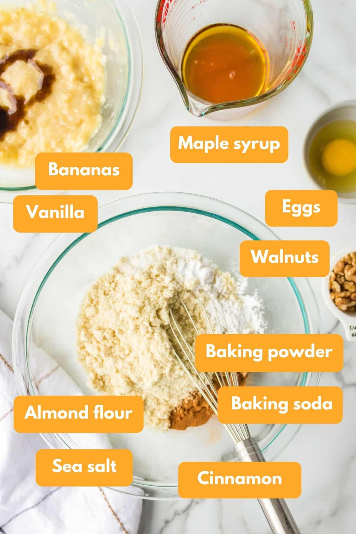 Ingredients for almond flour banana muffins
