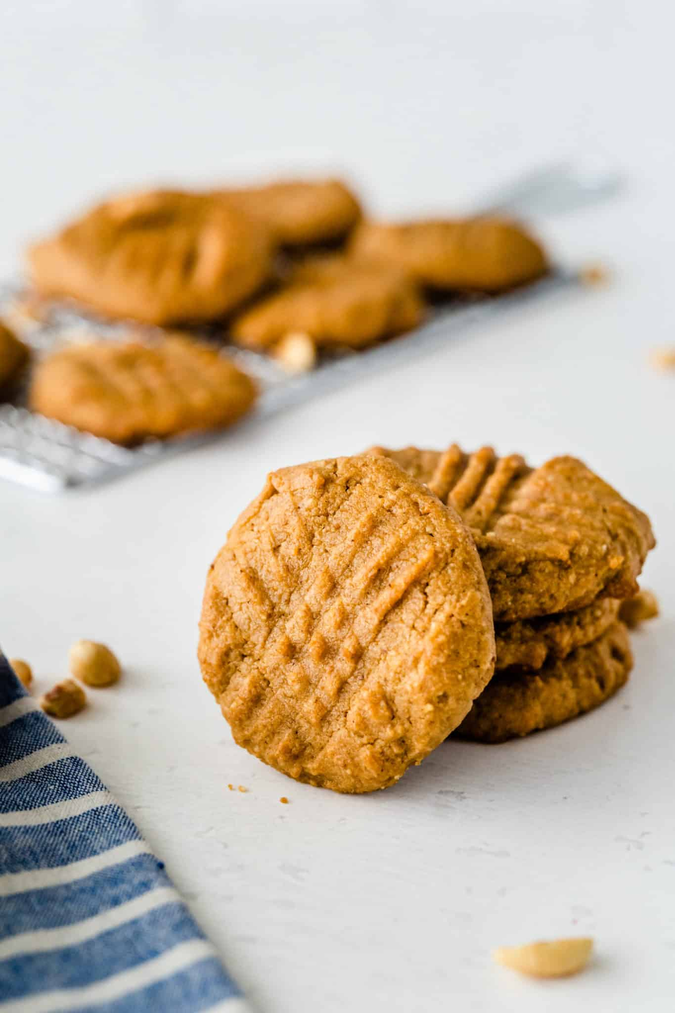A stack of almond flour peanut butter cookies