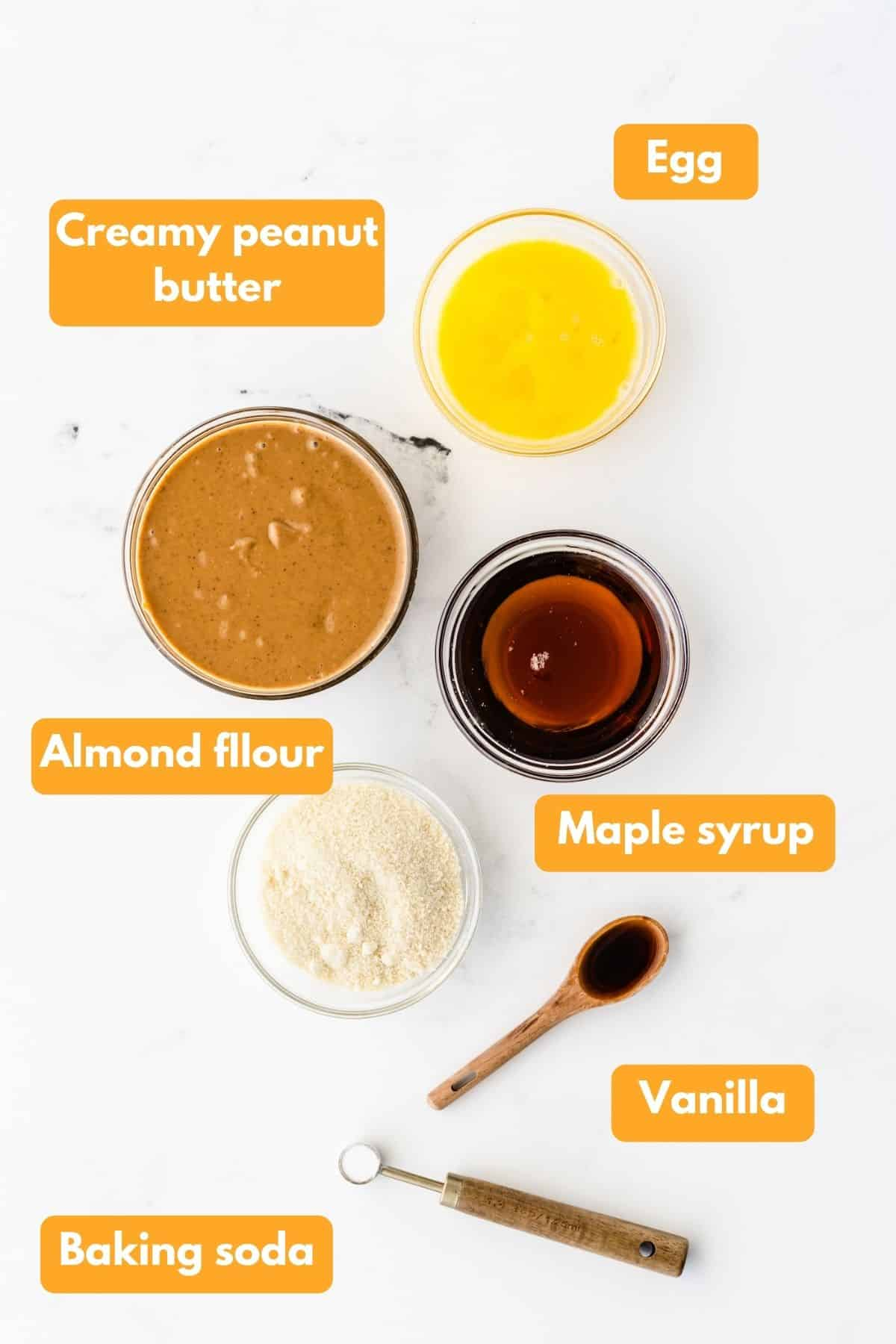Ingredients for peanut butter almond flour cookies