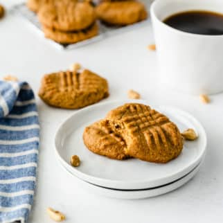 a plate of peanut butter cookies