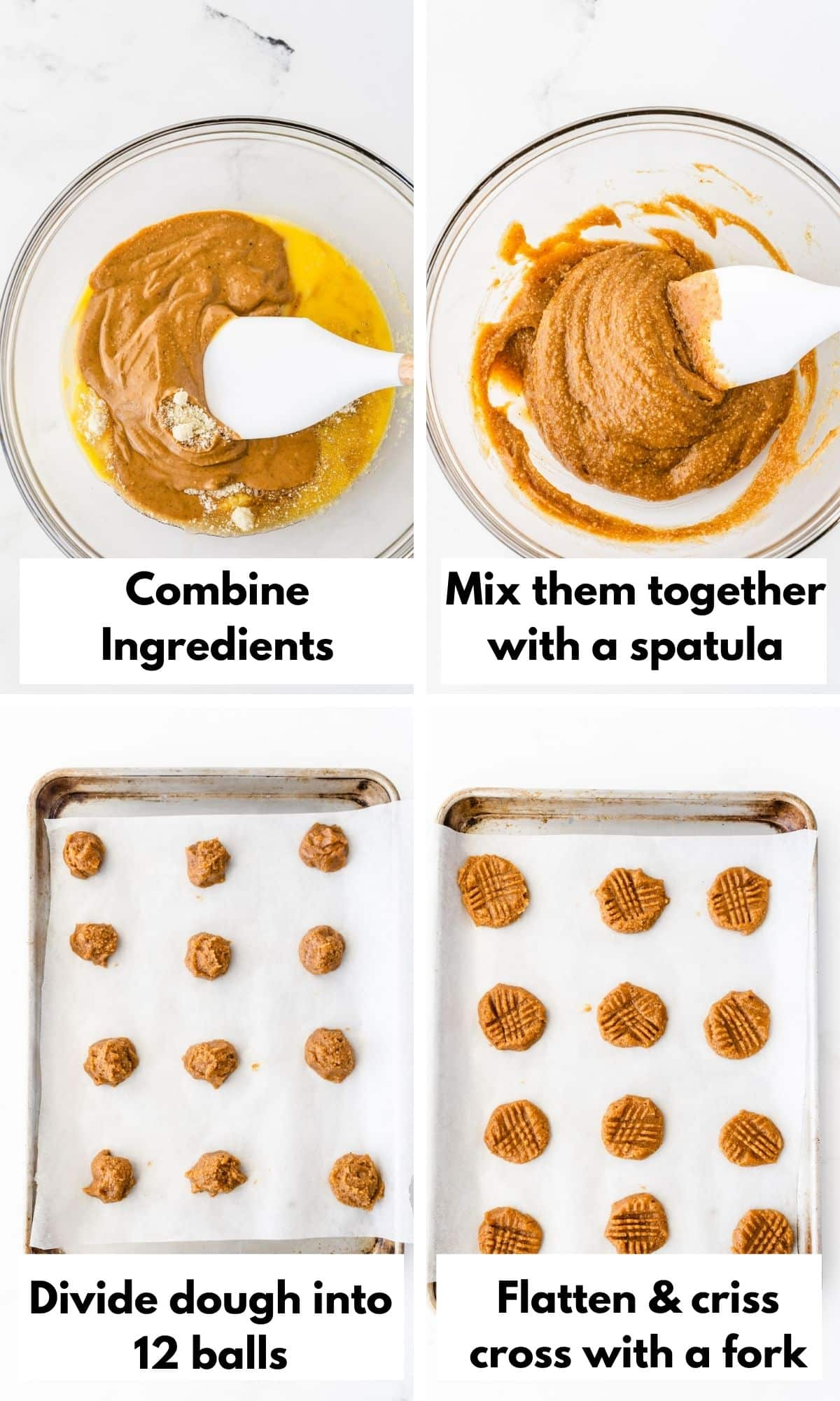 Pictures showing how to make peanut butter cookies