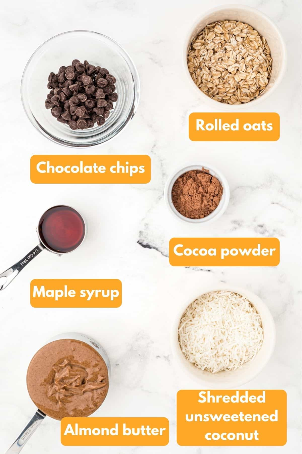 Ingredients for almond butter energy balls