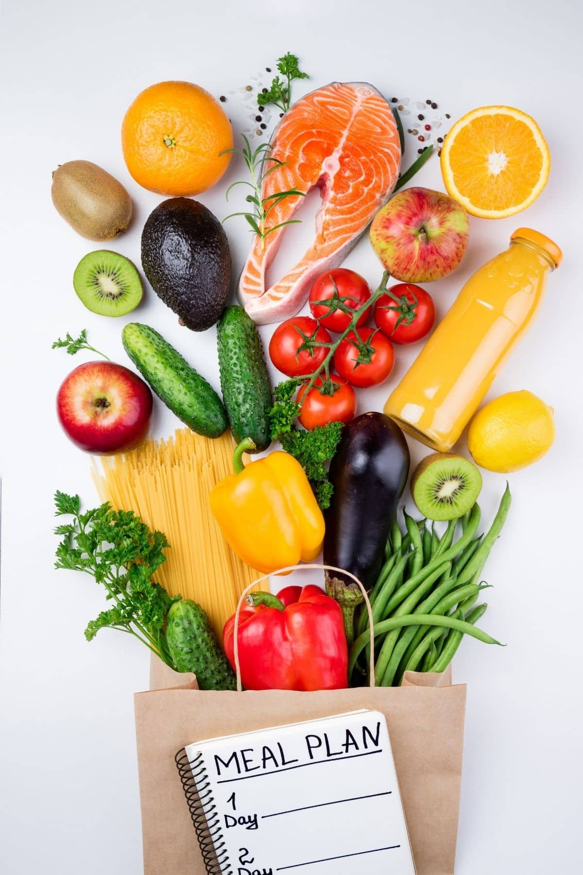 Fresh fruits and vegetables for a meal plan