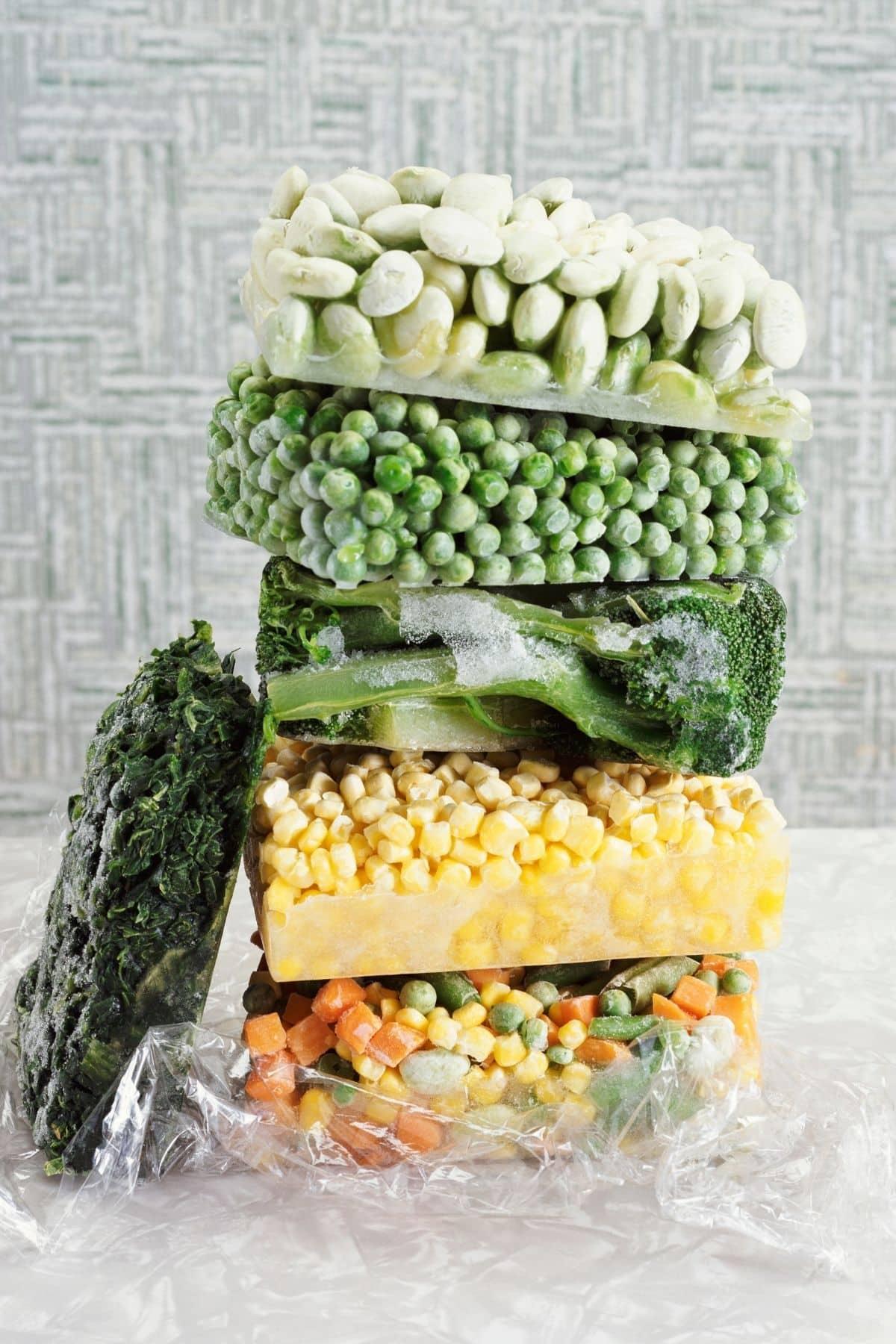 Frozen vegetables stacked together