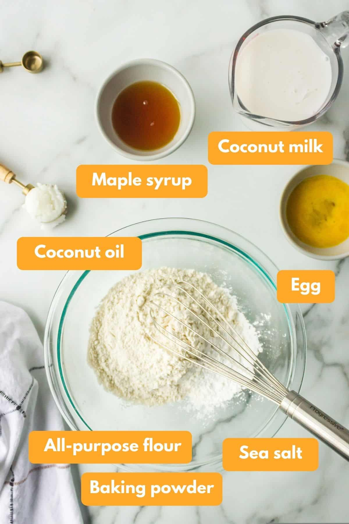 Ingredients for coconut milk pancakes
