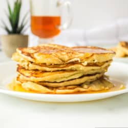 A stack of coconut milk pancakes