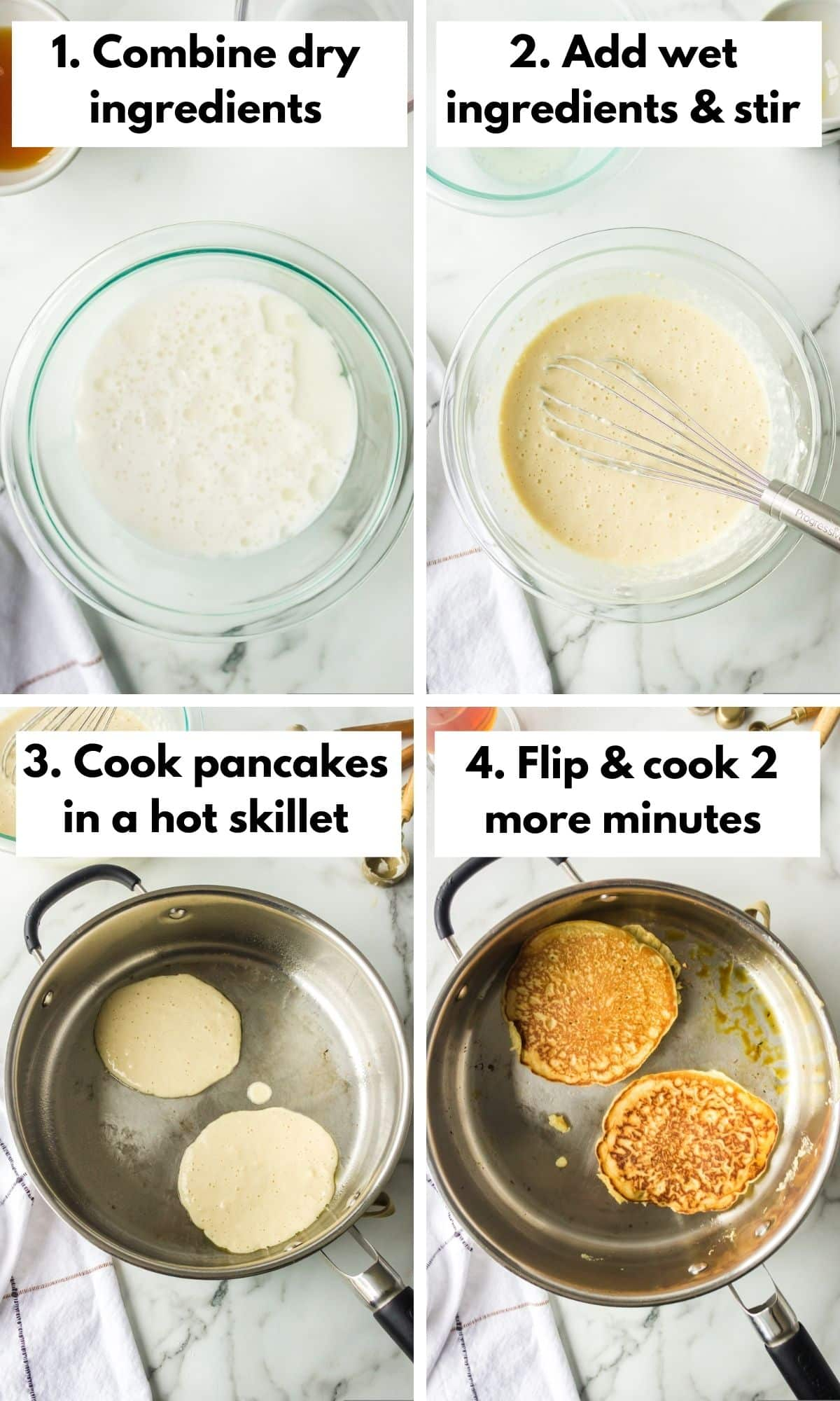 photo collage with how to make coconut milk pancakes