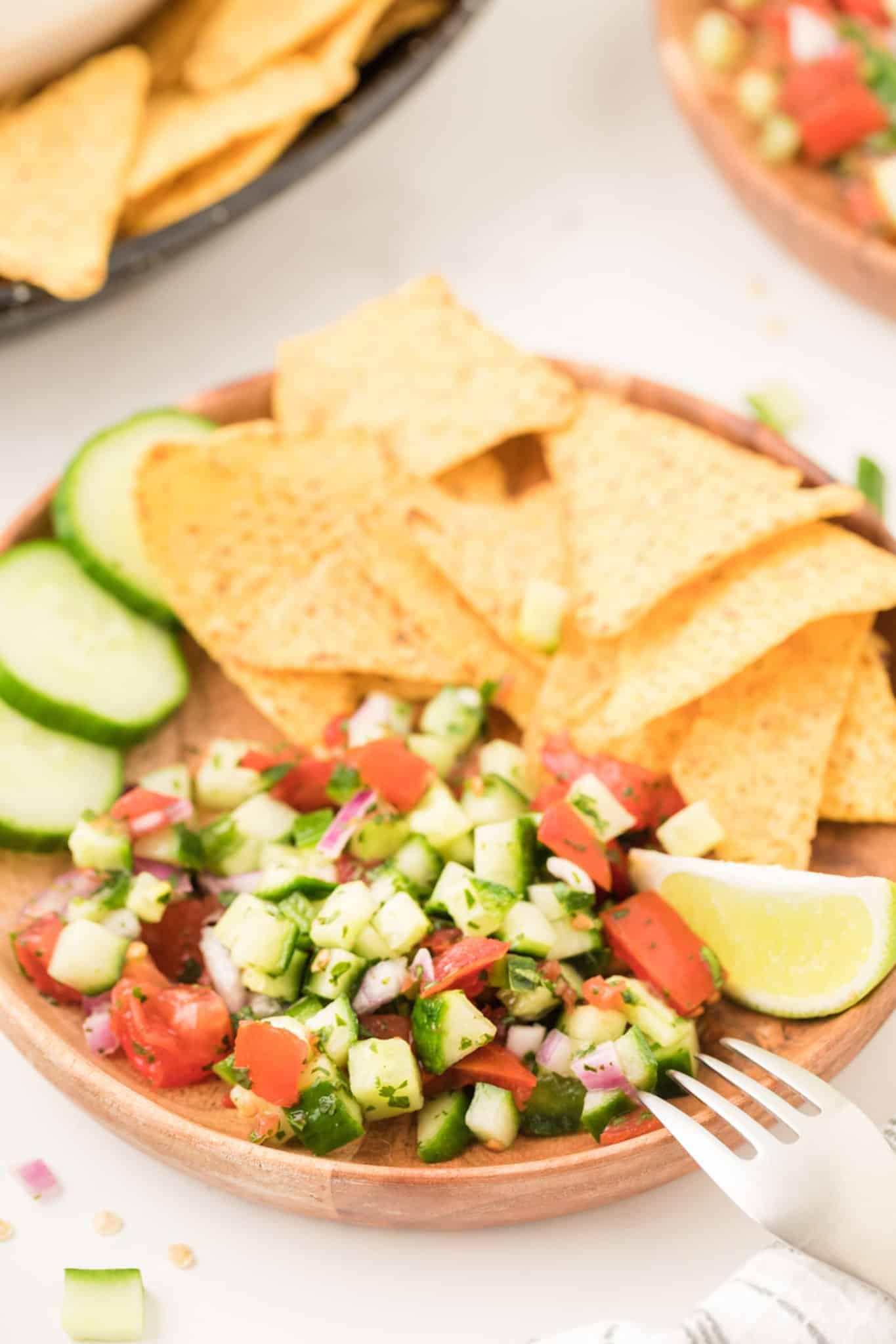 Cucumber pico de gallo with tortilla chips