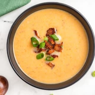 a bowl of dairy-free potato soup