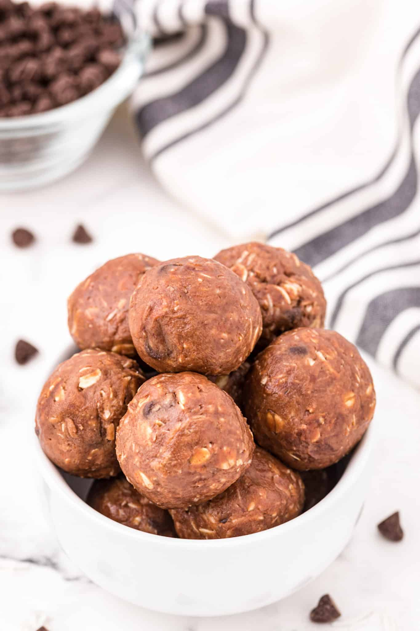 A bowl of chocolate almond butter energy balls