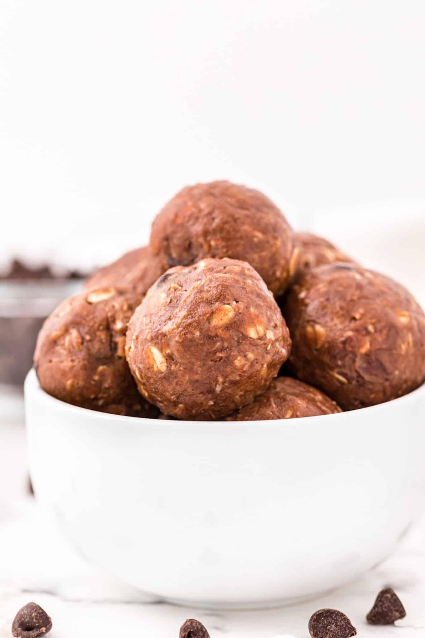 a bowl of double chocolate almond butter energy balls