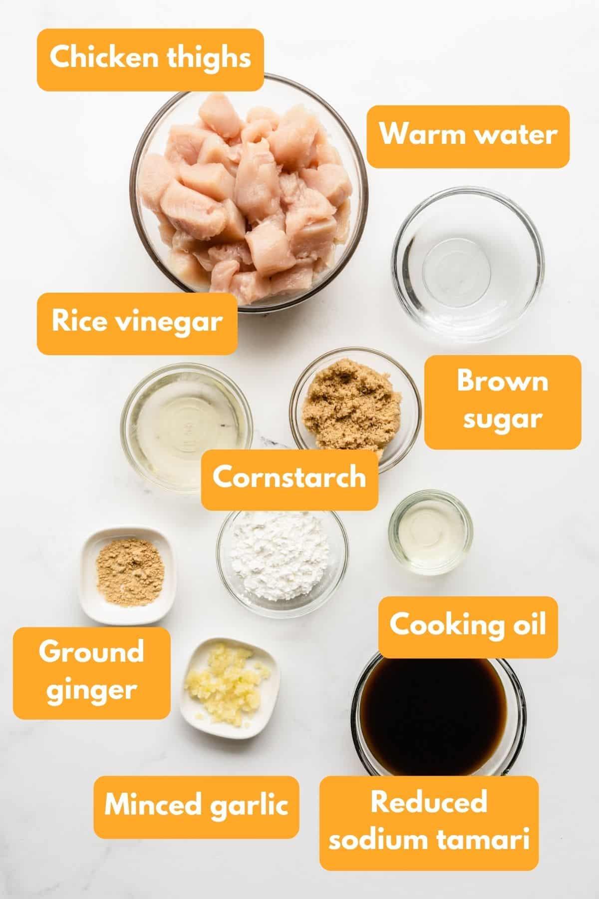 Ingredients for chicken teriyaki