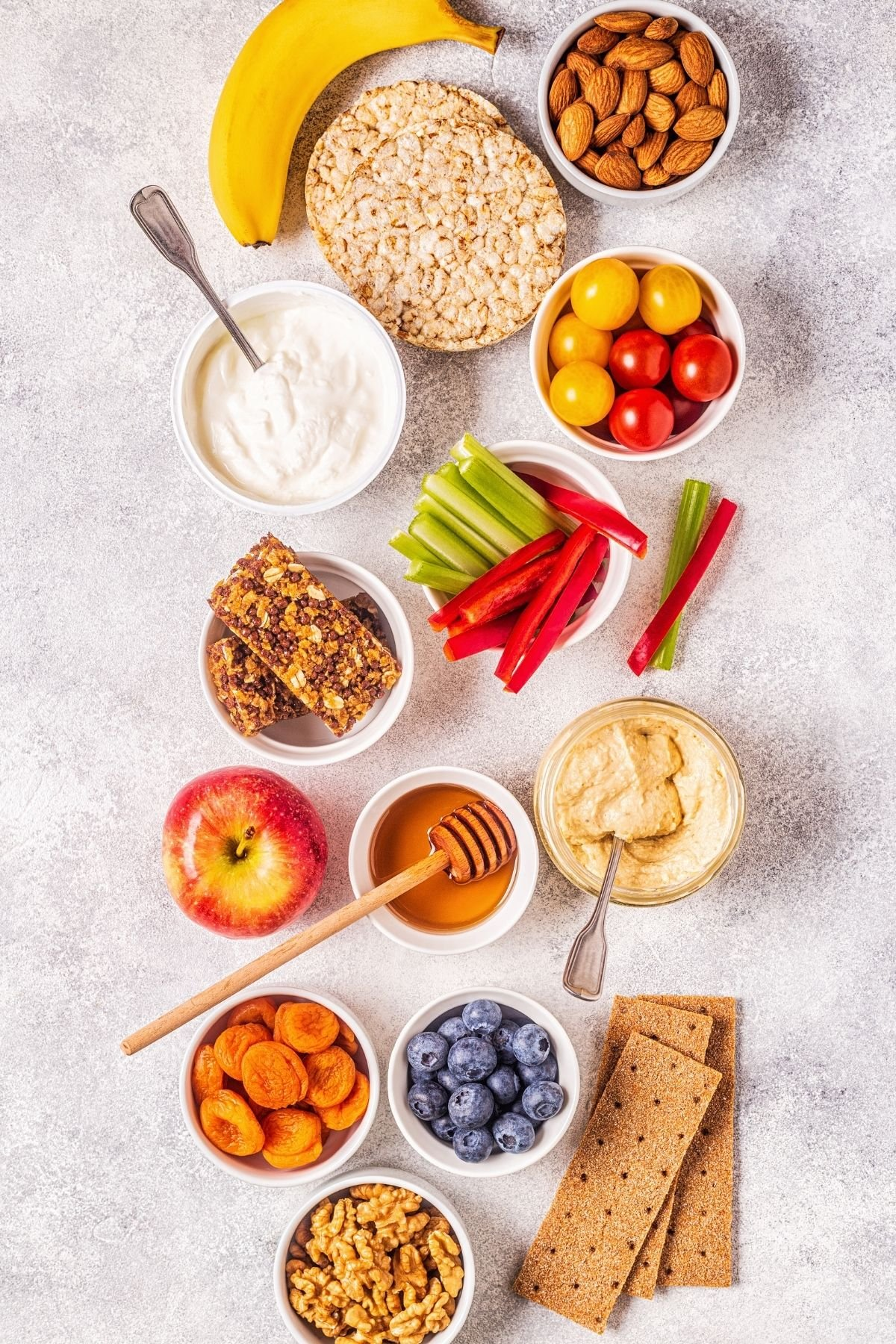 A counter full of healthy snacks
